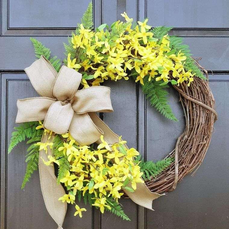 decoración primavera corona arpillera