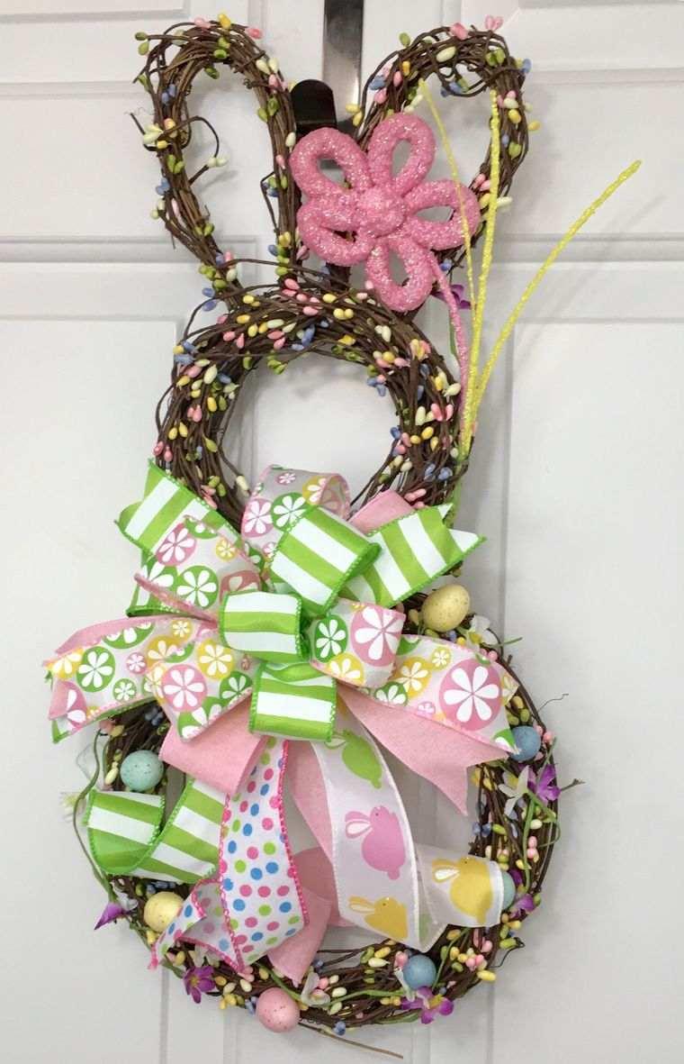 decoración primavera corona conejitos