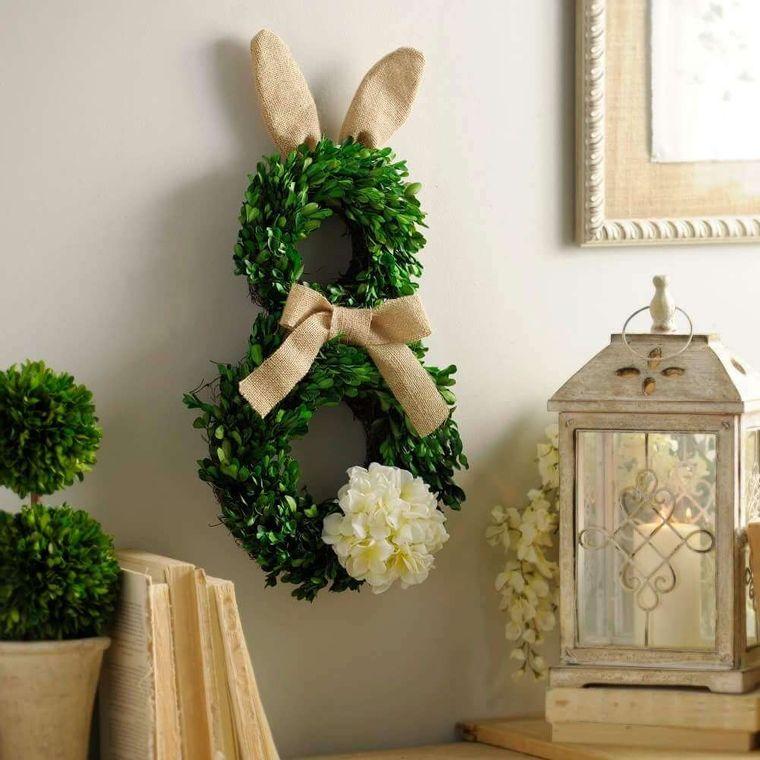 decoración primavera corona conejo