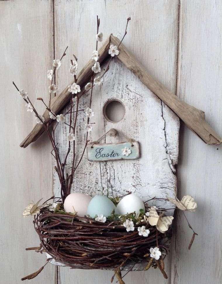 decoración primavera nido pajaro