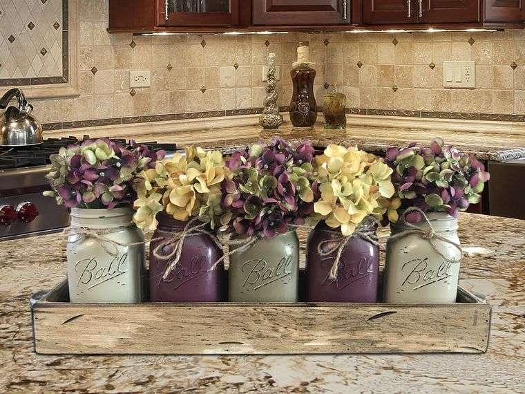 decoración primavera tarros maderas