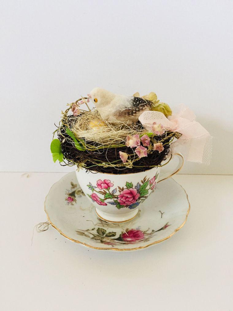 decoración primavera taza