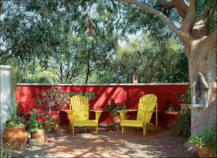 diseno de jardines fotos-casa-pared-roja