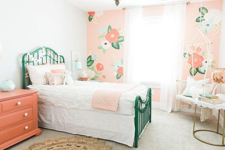 dormitorios infantiles papel flores