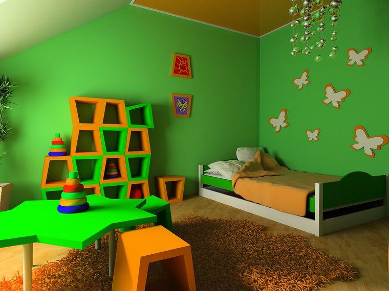 dormitorios infantiles verde