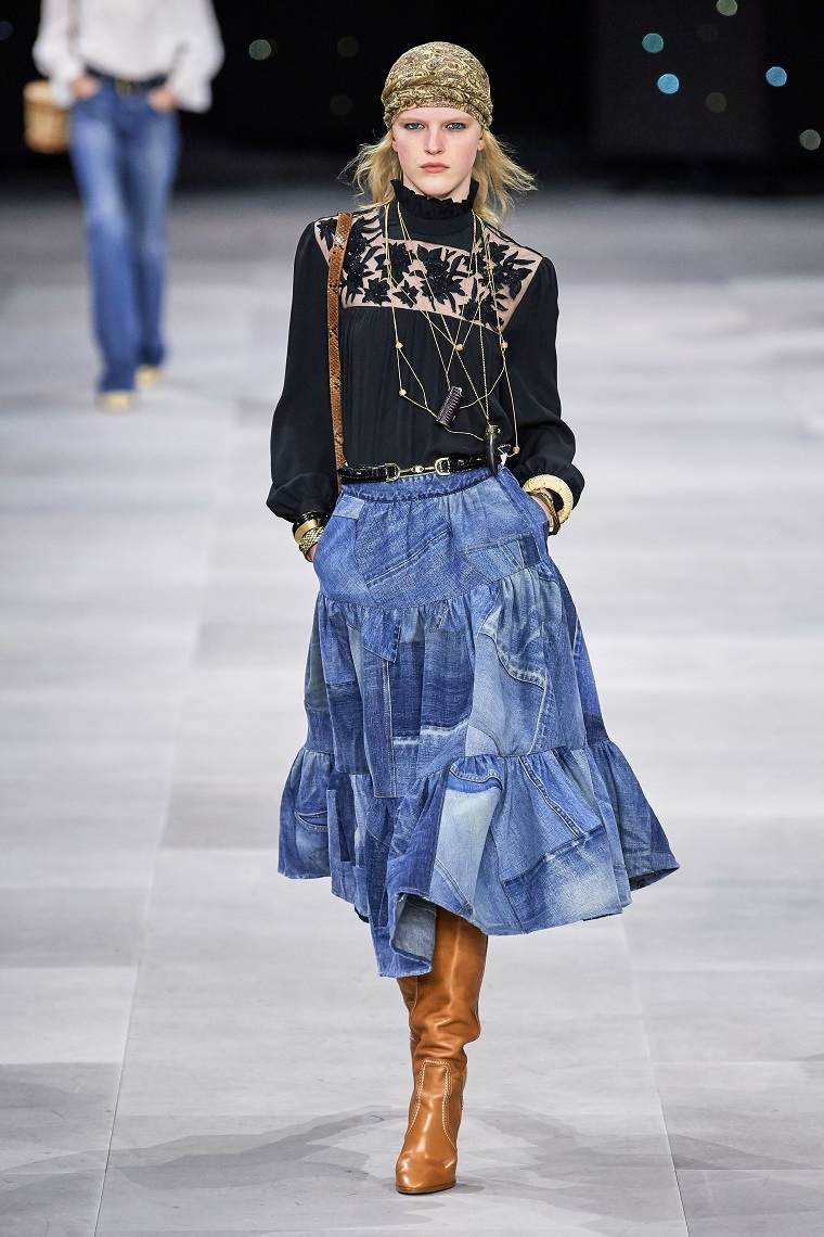 faldas-de-moda-2020-denim-celine