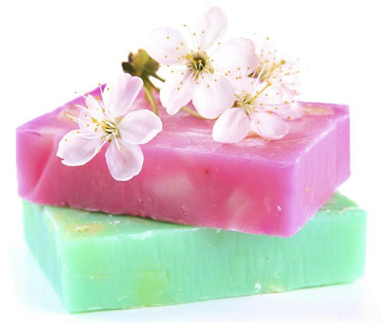 jabón casero rosa