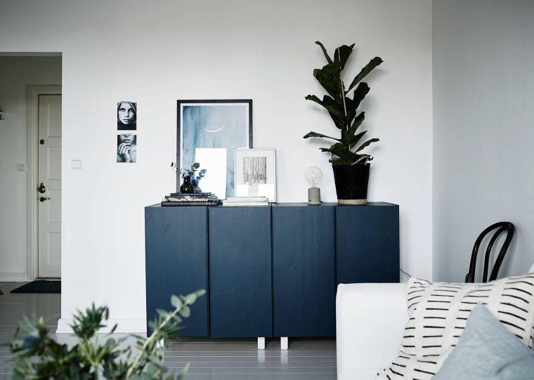 muebles de ikea pintado azul