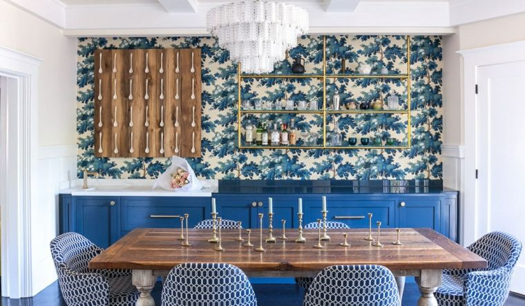 revestimiento para paredes-flores-azules