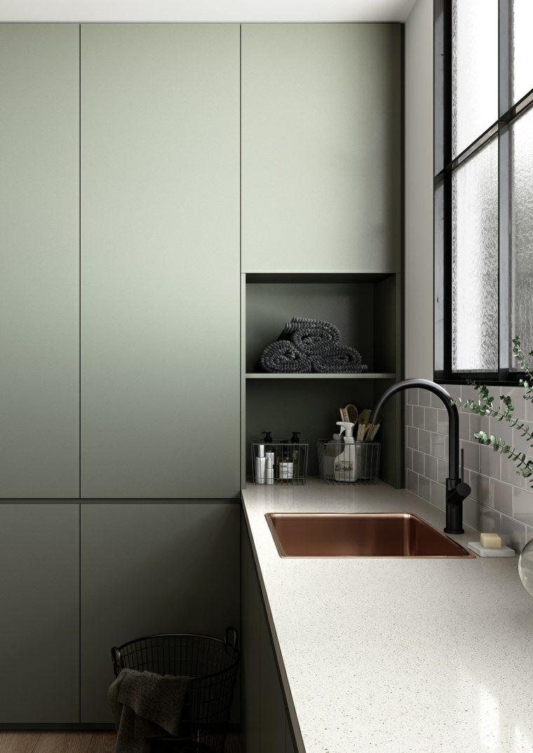 Diseños de cocinas con esquemas de colores calmantes