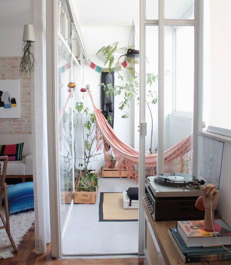 ideas de decoración hamacas balcon