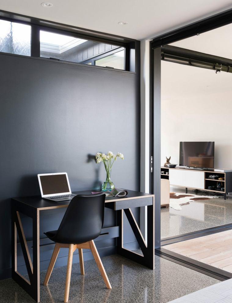 oficina en casa ideas-pared-negra