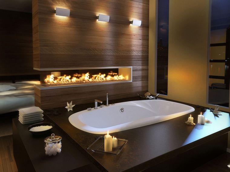 baños de lujo chimenea