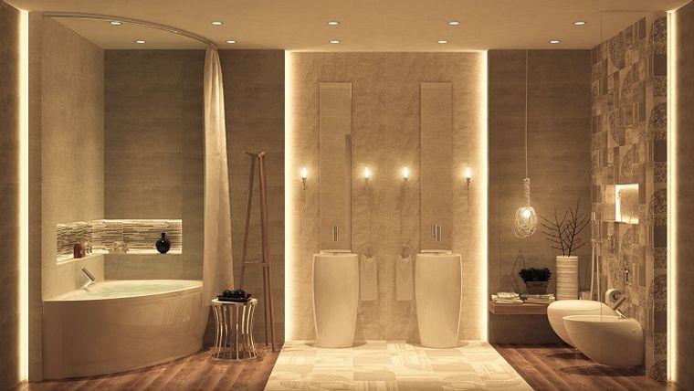 baños de lujo luces