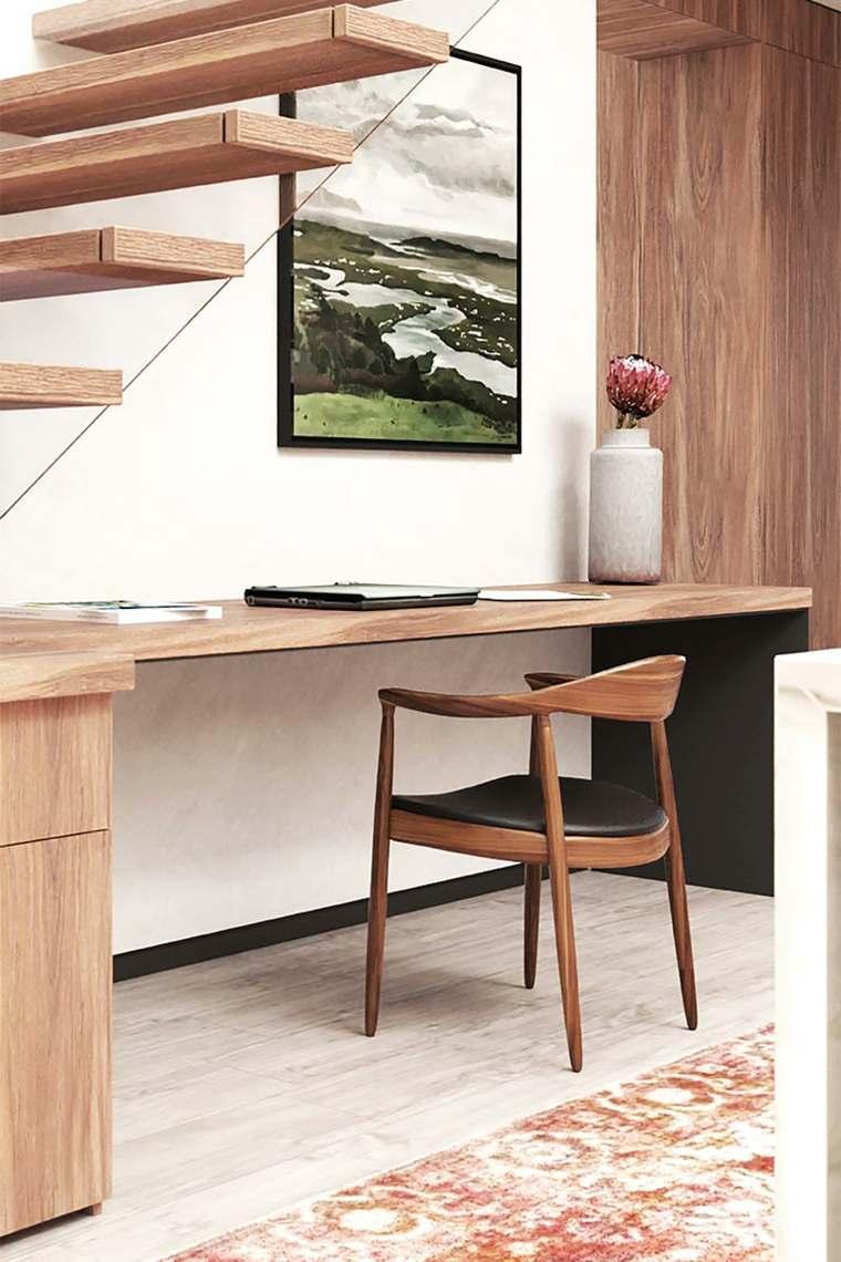 bajo escalera oficina-madera-moderno-estilo