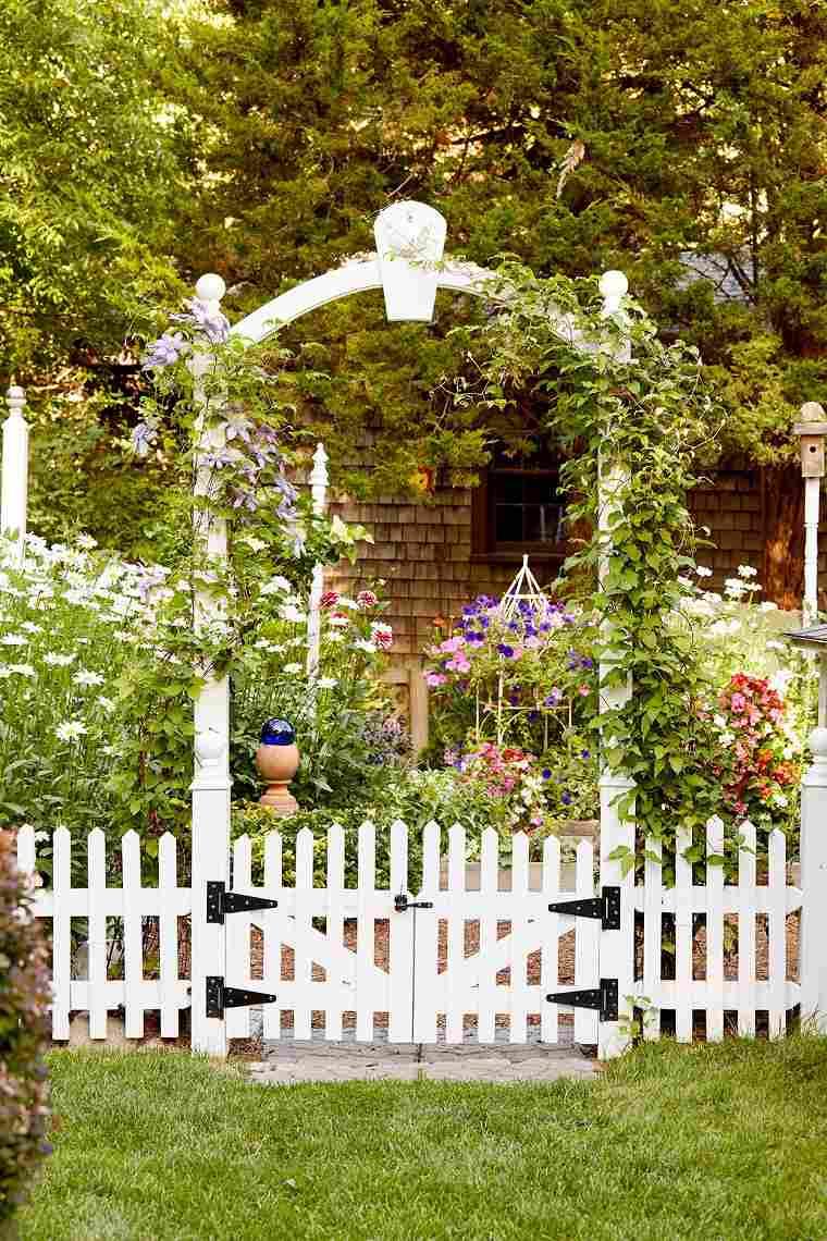 cenadores de jardín-valla-blanca