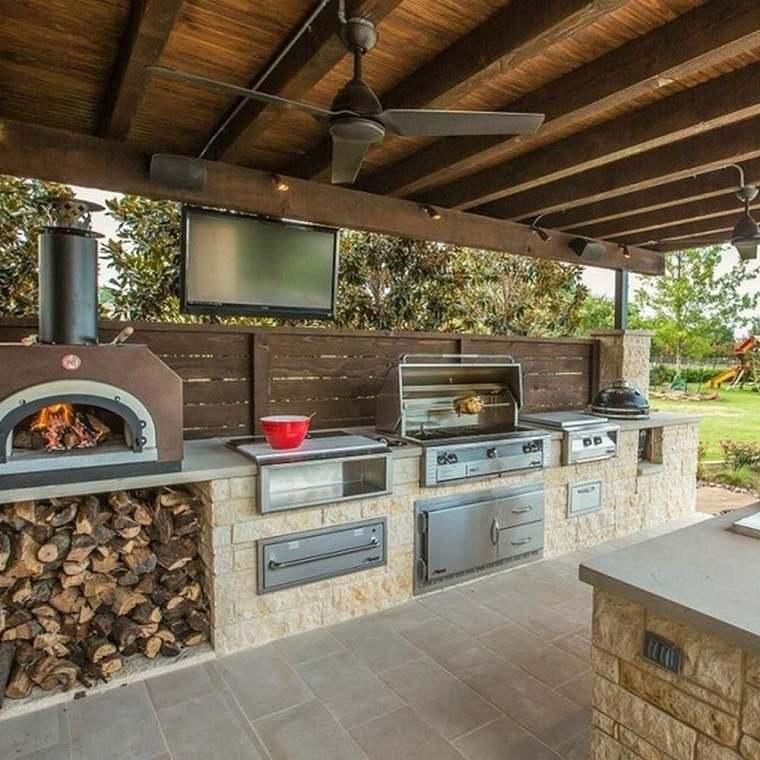 cocina exterior chimenea-barbacoa