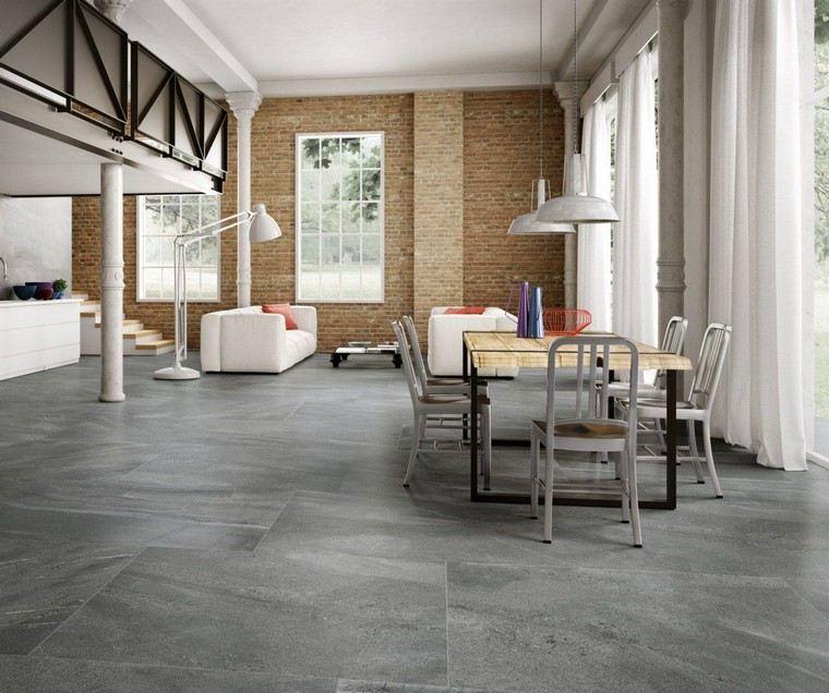 diseño de interiores con piso gris