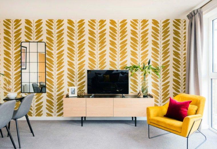 diseño de interiores gris amarillo