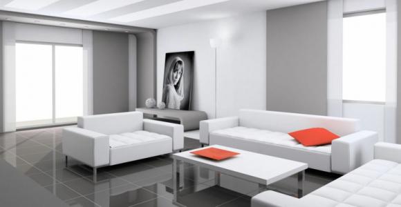 diseño de interiores gris rojo