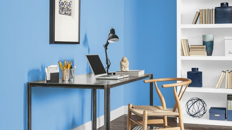 diseño de oficinas azul cielo