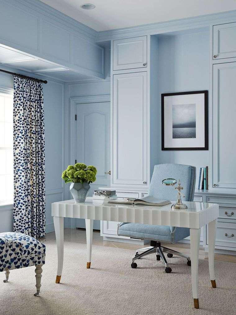 diseño de oficinas azul claro