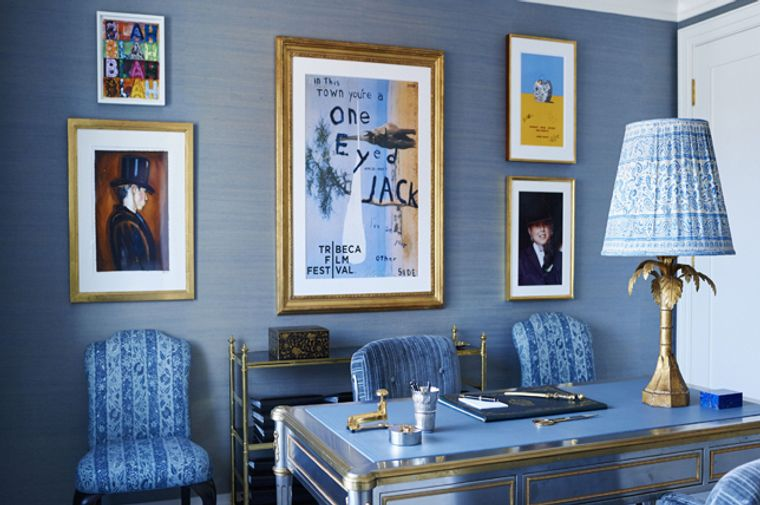 diseño de oficinas color azul