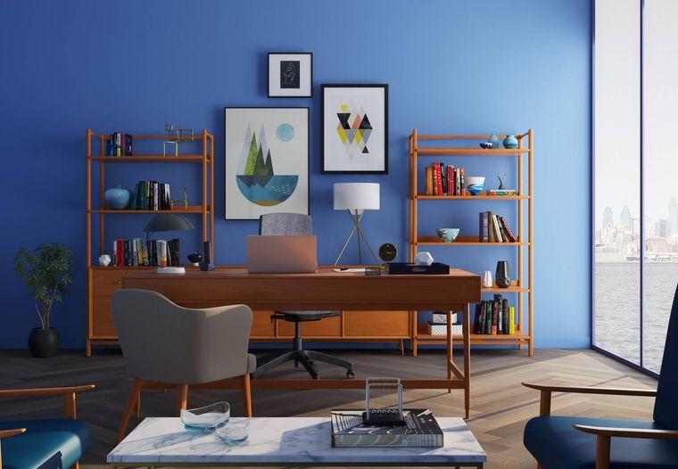 diseño de oficinas pared azul