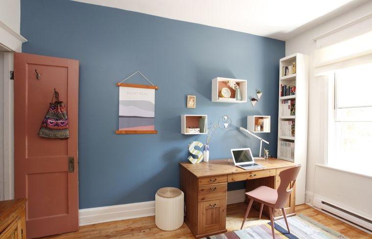 diseño de oficinas piso maderas