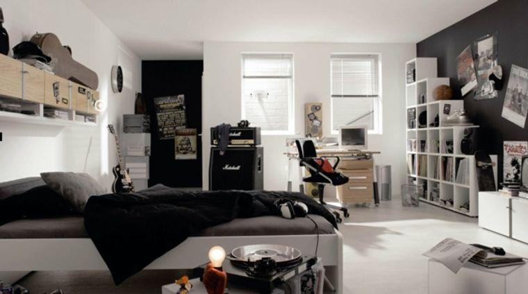 dormitorios juveniles blanco negro
