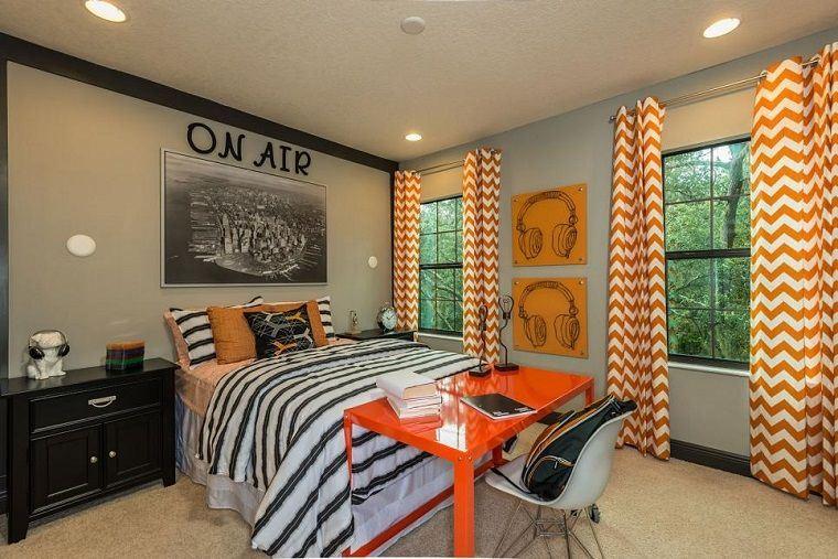 dormitorios juveniles mesa naranja