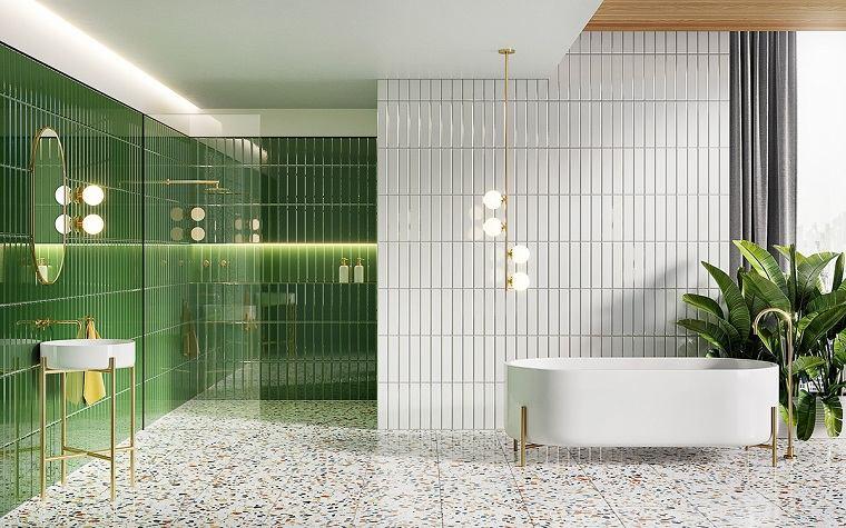 Duchas modernas walk in ideas-bano-verde-blanco