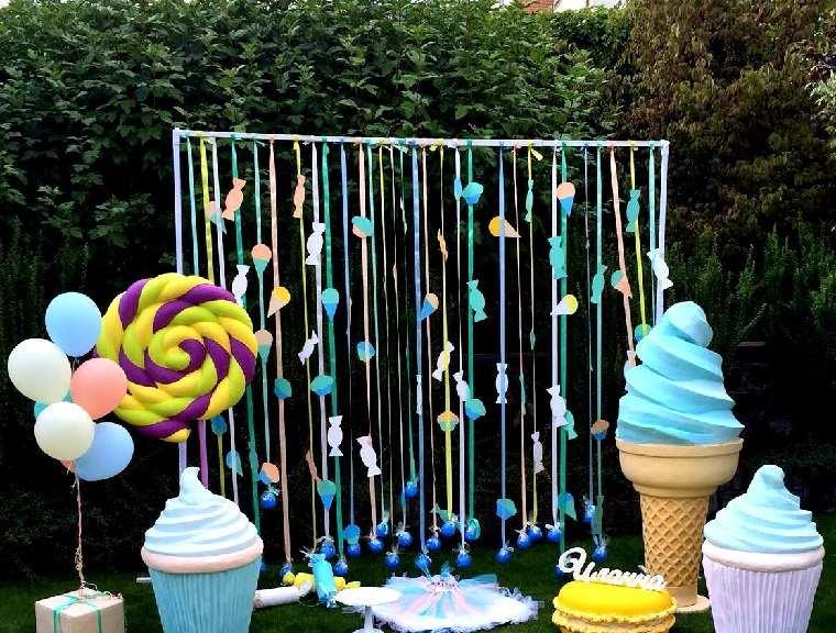 fiesta de cumpleaños cortina caramelos