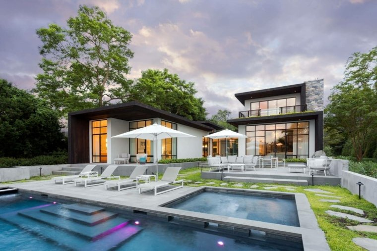 jardines con piscina ideas-casa-dos-piscinas
