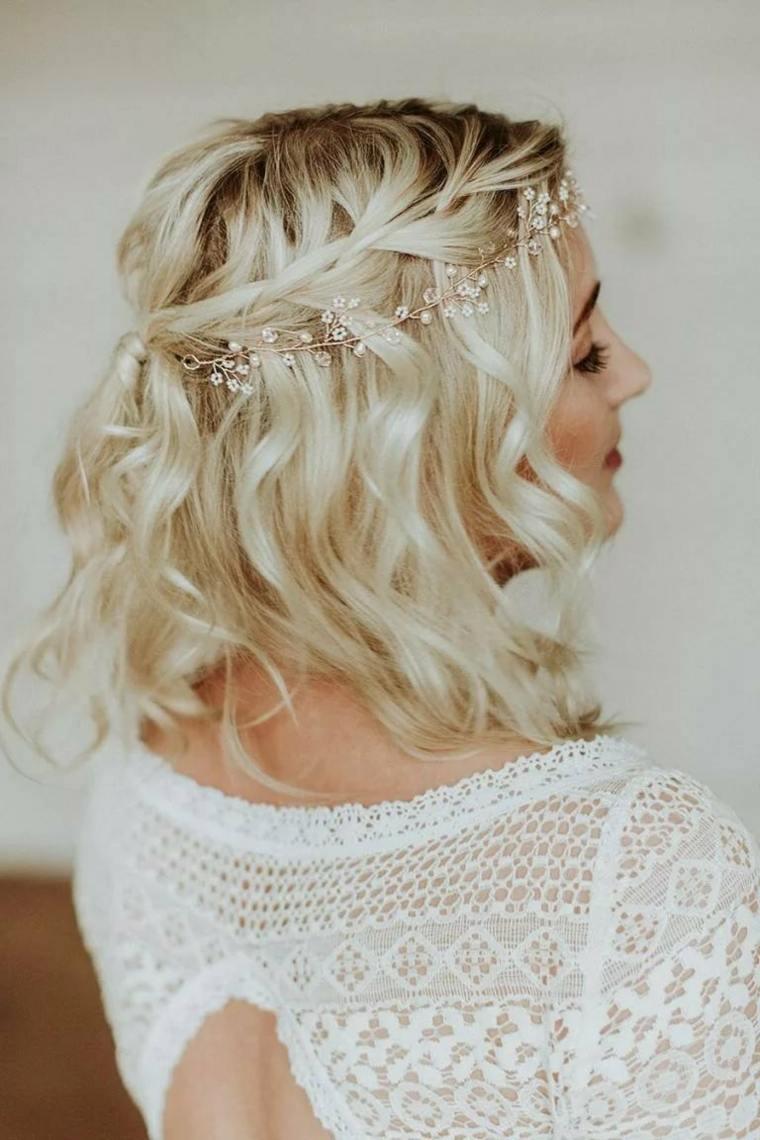 peinados para bodas pelo corto-rubio-rizos
