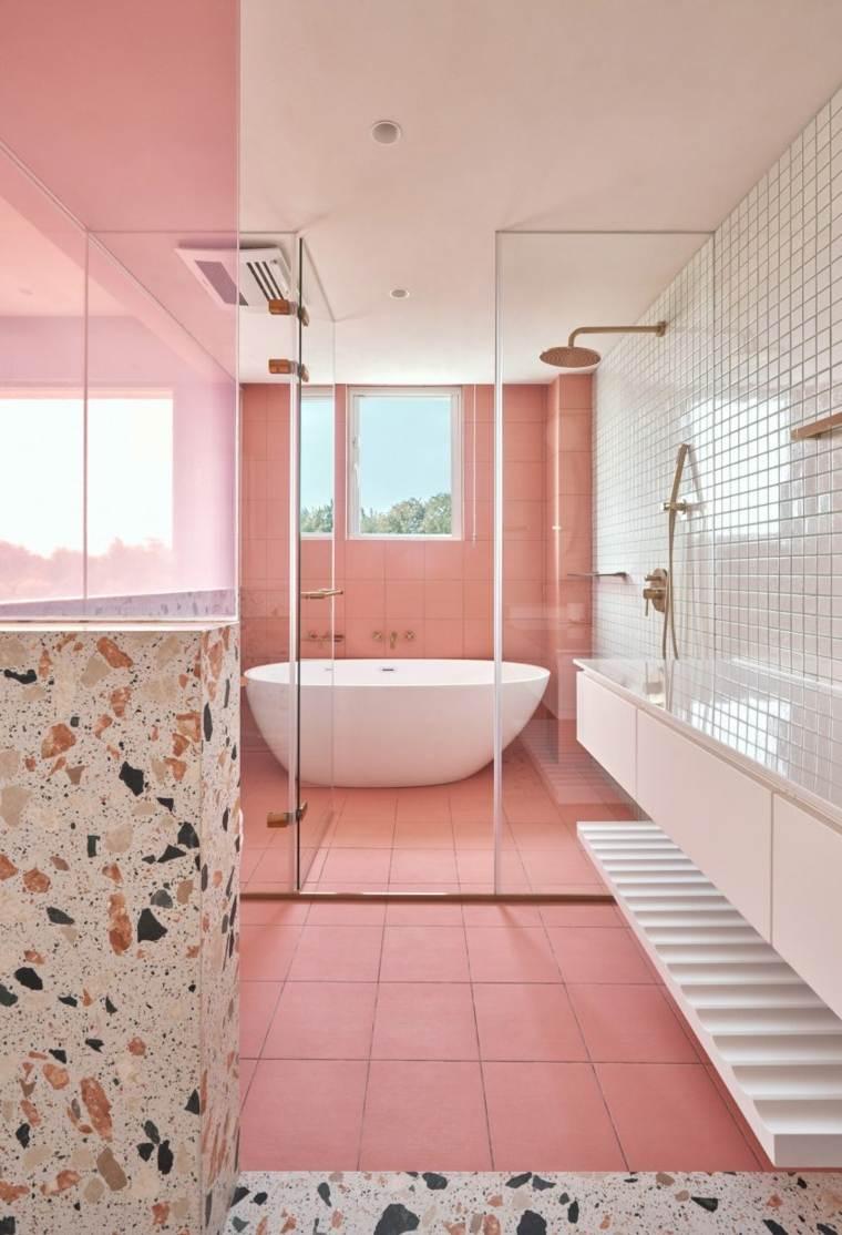 baños con piedra bano-rosa-ideas