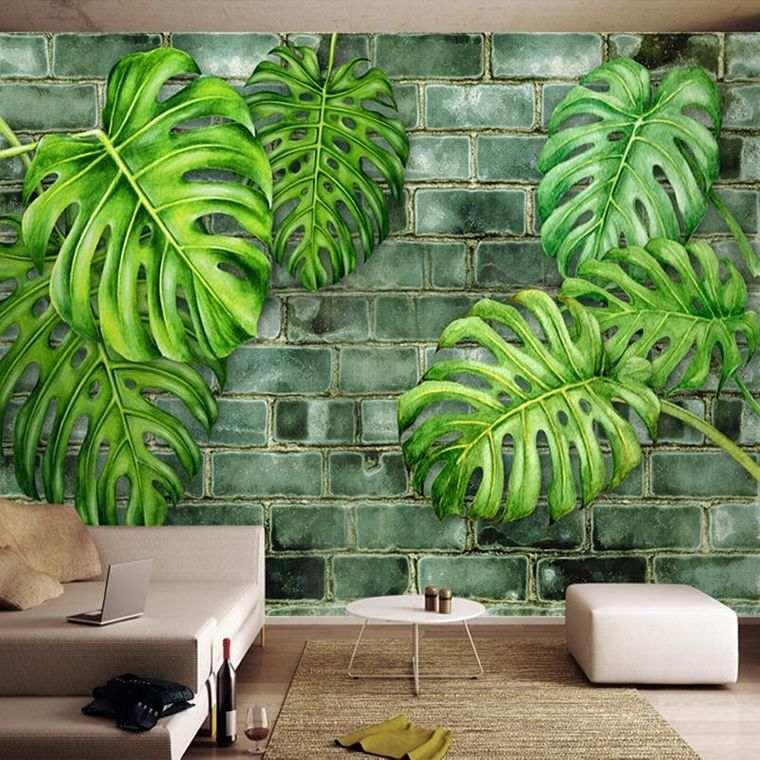 decoración de interiores con hojas pintadas