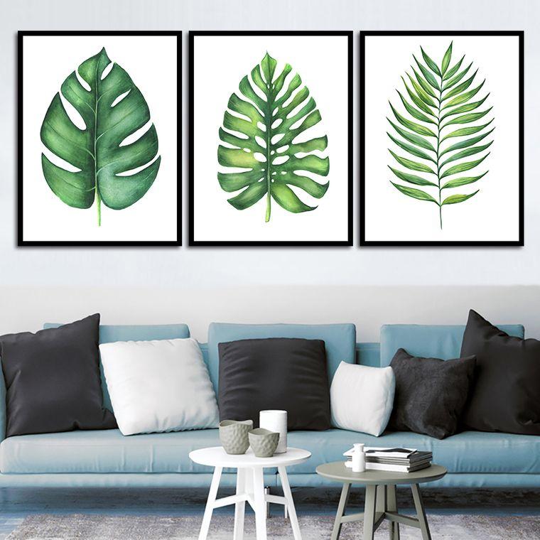 decoración de interiores con hojas verdes