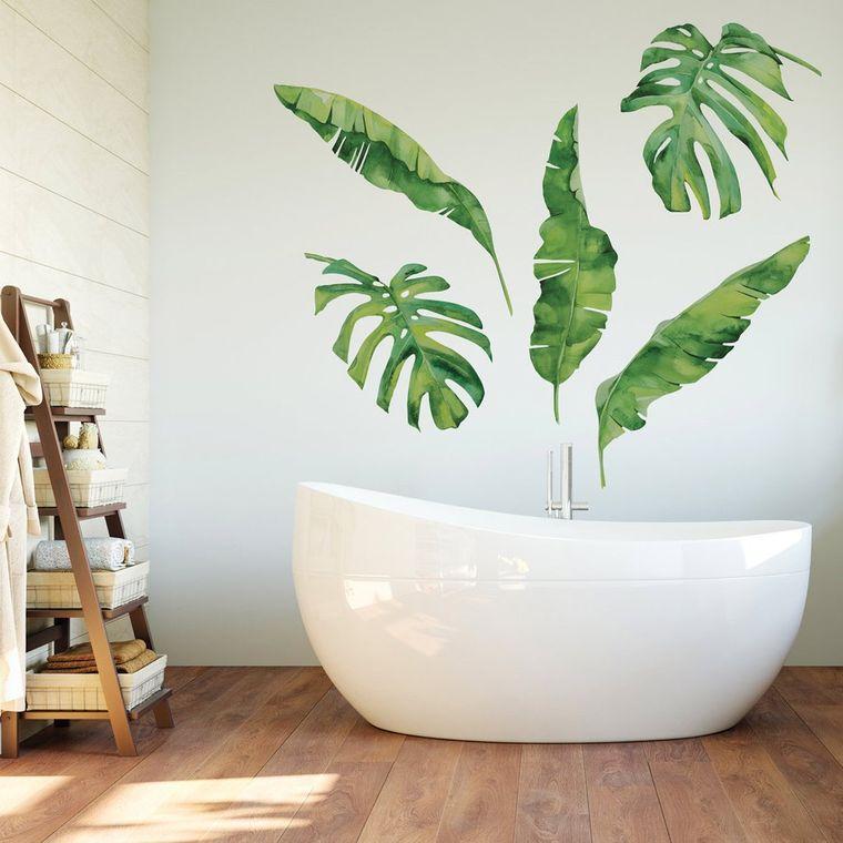 decoración de interiores hojas baño