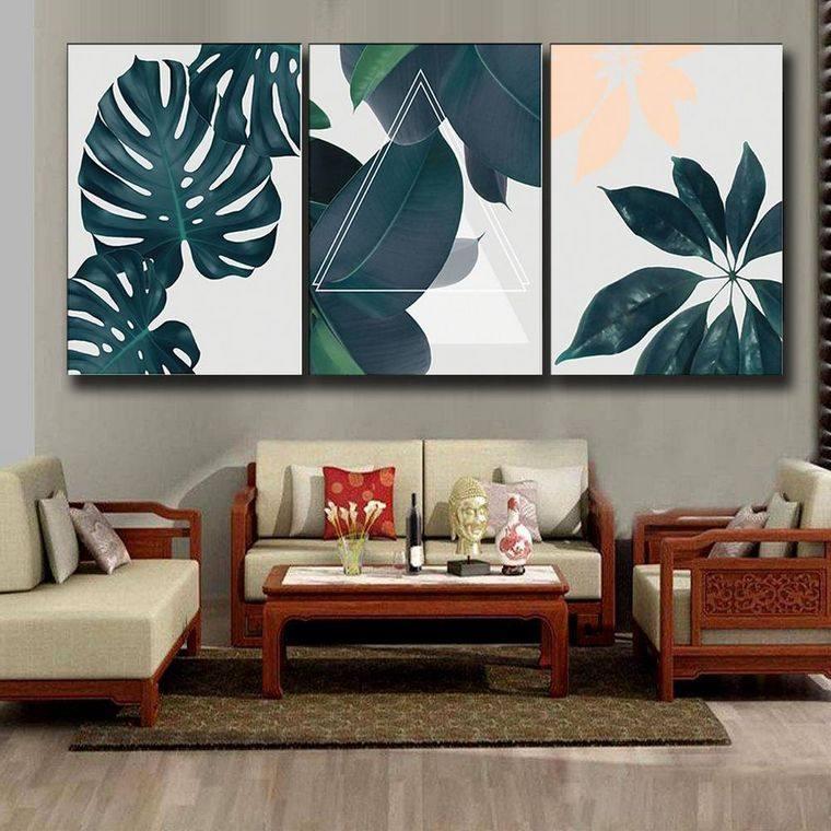 decoración de interiores hojas cuadros