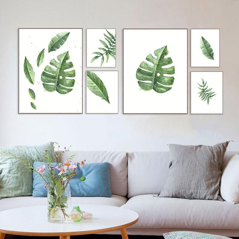 decoración de interiores hojas en cuadro