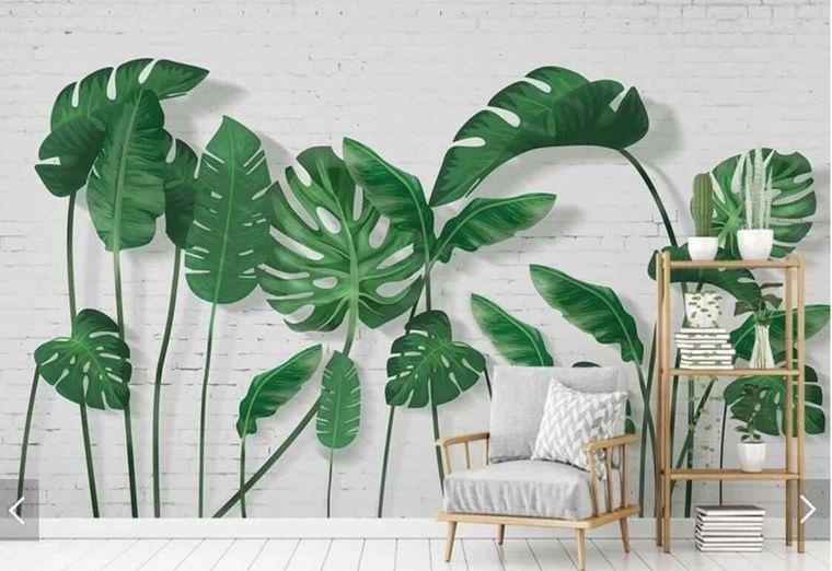 decoración de interiores hojas verde tropicales