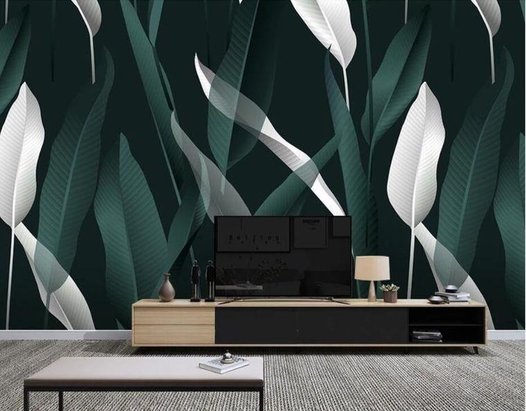 decoración de interiores papel pintado hojas