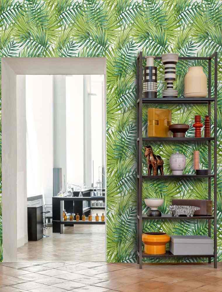 decoración de interiores papel tropical