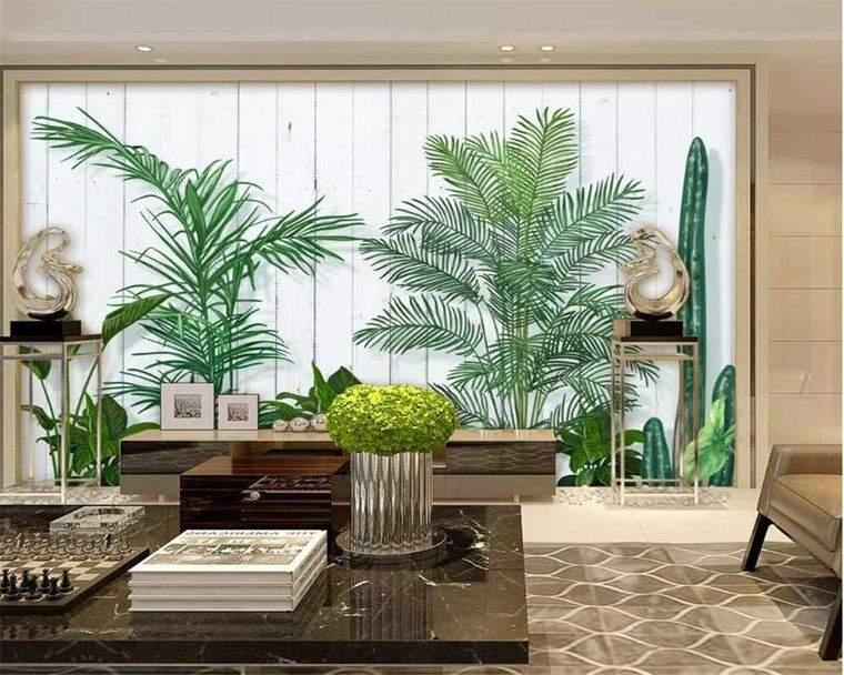 decoración de interiores pared hojas
