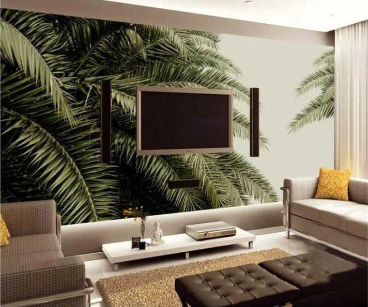decoración de interiores pared palmera
