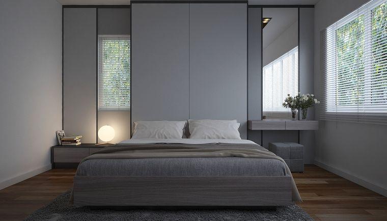 dormitorio minimalista gris