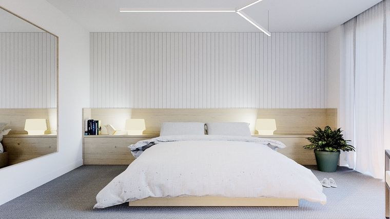 dormitorio minimalista iluminacion