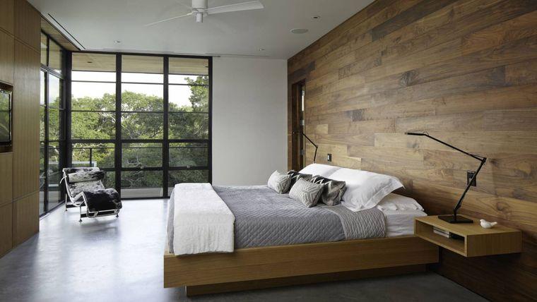 dormitorio minimalista pared madera