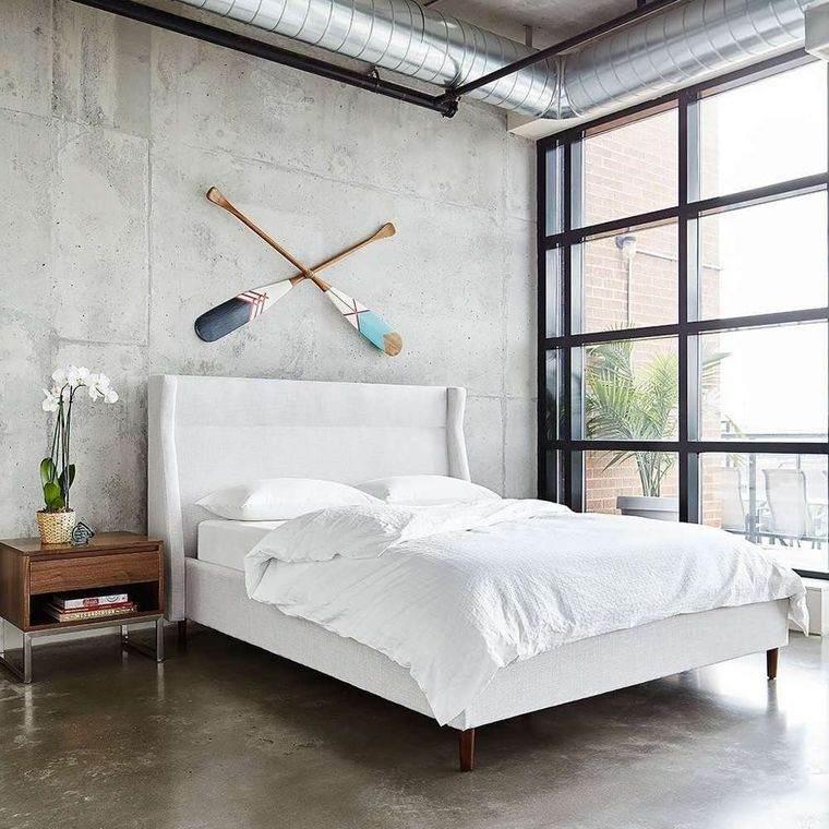 dormitorio minimalista pared yeso